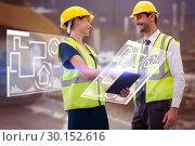 Купить «Composite image of architects in reflective clothing doing handshake while holding tablet computer», фото № 30152616, снято 18 августа 2017 г. (c) Wavebreak Media / Фотобанк Лори