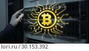 Купить «Composite image of symbol of bitcoin digital cryptocurrency», фото № 30153392, снято 21 ноября 2017 г. (c) Wavebreak Media / Фотобанк Лори