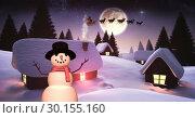 Snowman in Christmas village. Стоковое фото, агентство Wavebreak Media / Фотобанк Лори