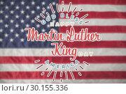 Купить «Composite image of happy martin luther king day, god bless america», фото № 30155336, снято 18 ноября 2018 г. (c) Wavebreak Media / Фотобанк Лори