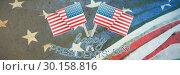 Купить «Composite image of happy presidents day vector typography and two american flags», фото № 30158816, снято 4 января 2019 г. (c) Wavebreak Media / Фотобанк Лори
