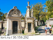 Купить «A view of the Pere Lachaise, the most famous cemetery of Paris, France, with the tombs of very famous people», фото № 30159292, снято 9 сентября 2018 г. (c) Николай Коржов / Фотобанк Лори