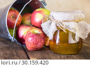 Купить «Processing of an agricultural crop of red and green apples. Home canning, healthy diet vegetarian food. Apple cider vinegar, juice, cider in a glass jar next to a bucket of ripe fruit», фото № 30159420, снято 16 февраля 2019 г. (c) Светлана Евграфова / Фотобанк Лори