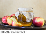 Купить «Processing of an agricultural crop of red and green apples. Home canning, healthy diet vegetarian food. Apple cider vinegar, juice, cider in a glass jar next to ripe fruit», фото № 30159424, снято 16 февраля 2019 г. (c) Светлана Евграфова / Фотобанк Лори