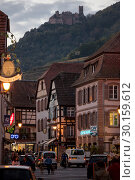 Купить «France, Ribeauville - Main street in the picturesque town on the Wine Route in Alsace», фото № 30159612, снято 29 октября 2014 г. (c) Caro Photoagency / Фотобанк Лори
