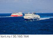 Купить «Ferries, Seajets, Fast Ferries, Rafina, Greece, Europe», фото № 30160164, снято 17 сентября 2018 г. (c) Caro Photoagency / Фотобанк Лори