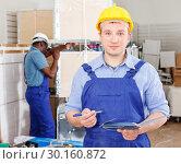 Купить «Builder planning construction works», фото № 30160872, снято 4 мая 2018 г. (c) Яков Филимонов / Фотобанк Лори