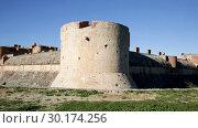 Купить «Stone towers and walls of imposing medieval fortified Chateau de Salses, French Catalonia», видеоролик № 30174256, снято 29 января 2019 г. (c) Яков Филимонов / Фотобанк Лори
