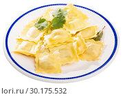 Купить «Plate of freshly boiled ravioli», фото № 30175532, снято 21 августа 2019 г. (c) Яков Филимонов / Фотобанк Лори