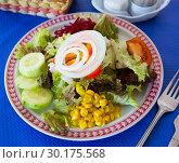 Купить «Salad with corn, tomatoes, cucumbers and onions», фото № 30175568, снято 21 сентября 2019 г. (c) Яков Филимонов / Фотобанк Лори