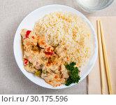 Купить «Red thai curry with jasmine rice», фото № 30175596, снято 31 мая 2020 г. (c) Яков Филимонов / Фотобанк Лори