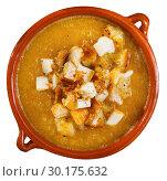 Купить «Top view of vegetable cream soup with croutons and cheese», фото № 30175632, снято 24 апреля 2019 г. (c) Яков Филимонов / Фотобанк Лори