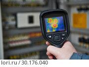 Купить «thermal imaging inspection of electrical equipment», фото № 30176040, снято 18 февраля 2019 г. (c) Дмитрий Калиновский / Фотобанк Лори
