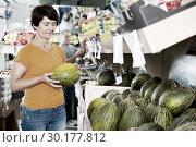 Купить «Female is choosing green melons», фото № 30177812, снято 22 октября 2017 г. (c) Яков Филимонов / Фотобанк Лори