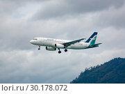 Купить «Airbus A320 Silkair in the sky», фото № 30178072, снято 29 ноября 2016 г. (c) Игорь Жоров / Фотобанк Лори