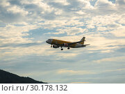 Купить «Airbus flying in the night sky», фото № 30178132, снято 29 ноября 2016 г. (c) Игорь Жоров / Фотобанк Лори
