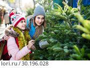 Купить «mother and daughter staying at market among Christmas trees.», фото № 30196028, снято 25 мая 2020 г. (c) Яков Филимонов / Фотобанк Лори