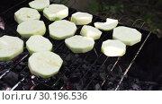 Купить «Sliced Mugs Zucchini Grilled On A Grill», видеоролик № 30196536, снято 2 октября 2018 г. (c) Pavel Biryukov / Фотобанк Лори