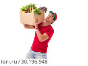 Купить «Concept of shopping delivery isolated on white background», фото № 30196948, снято 2 августа 2018 г. (c) Elnur / Фотобанк Лори