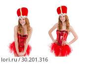 Купить «Red hair girl in carnival costume isolated on white», фото № 30201316, снято 29 ноября 2013 г. (c) Elnur / Фотобанк Лори