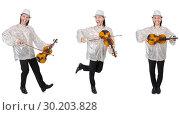 Купить «Young man playing violin isolated on white», фото № 30203828, снято 19 марта 2019 г. (c) Elnur / Фотобанк Лори