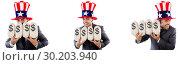 Купить «Man with american hat with moneybags», фото № 30203940, снято 17 июня 2019 г. (c) Elnur / Фотобанк Лори
