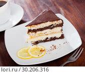 Купить «Delicious layer lemon сhocolate сake сloseup», фото № 30206316, снято 19 марта 2019 г. (c) Яков Филимонов / Фотобанк Лори
