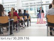 Купить «Male speaker speaks in a business seminar», фото № 30209116, снято 21 ноября 2018 г. (c) Wavebreak Media / Фотобанк Лори