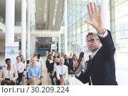 Купить «Male speaker speaks in a business seminar», фото № 30209224, снято 21 ноября 2018 г. (c) Wavebreak Media / Фотобанк Лори