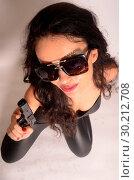 Natasha Blasick dressed as a Bond-like catsuit-wearing spy for Halloween... (2017 год). Редакционное фото, фотограф WENN.com / age Fotostock / Фотобанк Лори