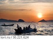 Купить «A boat sails through the South China Sea. The nest. Palawan. Palawan s El Nido stunning scenery made of limestone hills and lagoons El Nido The Philippines.», фото № 30221624, снято 14 января 2019 г. (c) age Fotostock / Фотобанк Лори