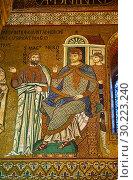 Купить «Medieval Byzantine style mosaics of Simon Magnus & Emperor Nero, Palatine Chapel, Cappella Palatina, Palermo, Italy.», фото № 30223240, снято 21 июля 2015 г. (c) age Fotostock / Фотобанк Лори