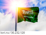The national flag of Saudi Arabia flutters in the wind against the blue cloudy sky. Стоковое фото, фотограф Акиньшин Владимир / Фотобанк Лори