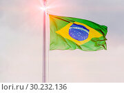 Купить «The national flag of Brazil is fluttering in the wind against a blue cloudy sky.», фото № 30232136, снято 21 июня 2018 г. (c) Акиньшин Владимир / Фотобанк Лори