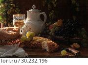 Купить «Still life with khachapuri with white wine and grapes», фото № 30232196, снято 7 октября 2009 г. (c) Марина Володько / Фотобанк Лори