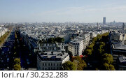 Купить «Panoramic view of Paris with Eiffel Tower and apartment buildings in France», видеоролик № 30232288, снято 27 октября 2018 г. (c) Яков Филимонов / Фотобанк Лори