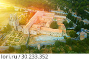 Купить «Aerial view of Castle of Abbey Sainte-Marie d'Orbieu, part of hi», фото № 30233352, снято 6 октября 2018 г. (c) Яков Филимонов / Фотобанк Лори