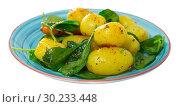 Купить «Delicious cooked fried new potatoes with spinach served at plate», фото № 30233448, снято 22 апреля 2019 г. (c) Яков Филимонов / Фотобанк Лори