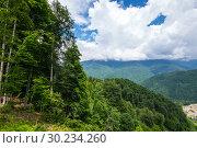 Купить «View of Caucasian mountains», фото № 30234260, снято 22 июня 2017 г. (c) Юлия Белоусова / Фотобанк Лори