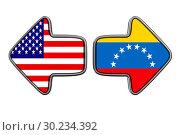 Купить «Flag Venezuela and USA on white background. Isolated 3D illustration», иллюстрация № 30234392 (c) Ильин Сергей / Фотобанк Лори