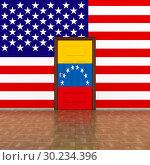 Купить «flag Venezuela and USA on wall and door. 3D illustration», иллюстрация № 30234396 (c) Ильин Сергей / Фотобанк Лори