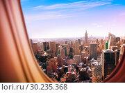Купить «New York city view from plane window», фото № 30235368, снято 21 августа 2015 г. (c) Сергей Новиков / Фотобанк Лори