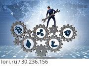 Купить «Businessman in cryptocurrency concept with spanner», фото № 30236156, снято 19 апреля 2019 г. (c) Elnur / Фотобанк Лори