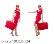 Купить «Blondie in red dress with suitcase isolated on white», фото № 30236324, снято 30 ноября 2013 г. (c) Elnur / Фотобанк Лори