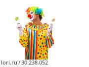 Купить «Male clown isolated on white», фото № 30238052, снято 28 сентября 2018 г. (c) Elnur / Фотобанк Лори