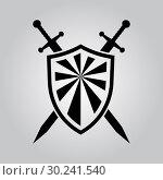 Купить «Shield and swords. Vector icon», иллюстрация № 30241540 (c) Сергей Лаврентьев / Фотобанк Лори