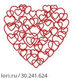 Купить «A big red heart made up of little hearts», иллюстрация № 30241624 (c) Сергей Лаврентьев / Фотобанк Лори