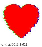 Купить «Red Heart in Glitch Style», иллюстрация № 30241632 (c) Сергей Лаврентьев / Фотобанк Лори