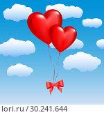Купить «Two balloons in the shape of hearts on a sky», иллюстрация № 30241644 (c) Сергей Лаврентьев / Фотобанк Лори