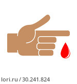 Купить «Finger with blood drop on white background», иллюстрация № 30241824 (c) Сергей Лаврентьев / Фотобанк Лори